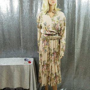Beautiful Vintage Floral Cream Dress+Belt 2 pc Set
